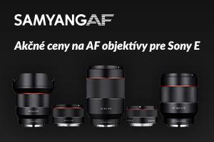 Akcia AF objektívov Samyang s bajonetom Sony E