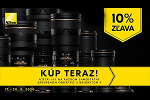 Ušetrite 10% pri kúpe objektívov Nikon F