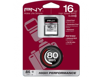 PNY Secure Digital Card SDHC 16 GB Class 10 UHS1 80 MB/s