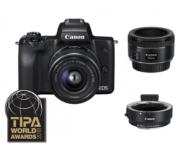 Canon EOS M50 čierny + EF-M15-45 IS STM + 50mm f/1.8STM + EF-M adaptér + 16 GB SD karta ZADARMO